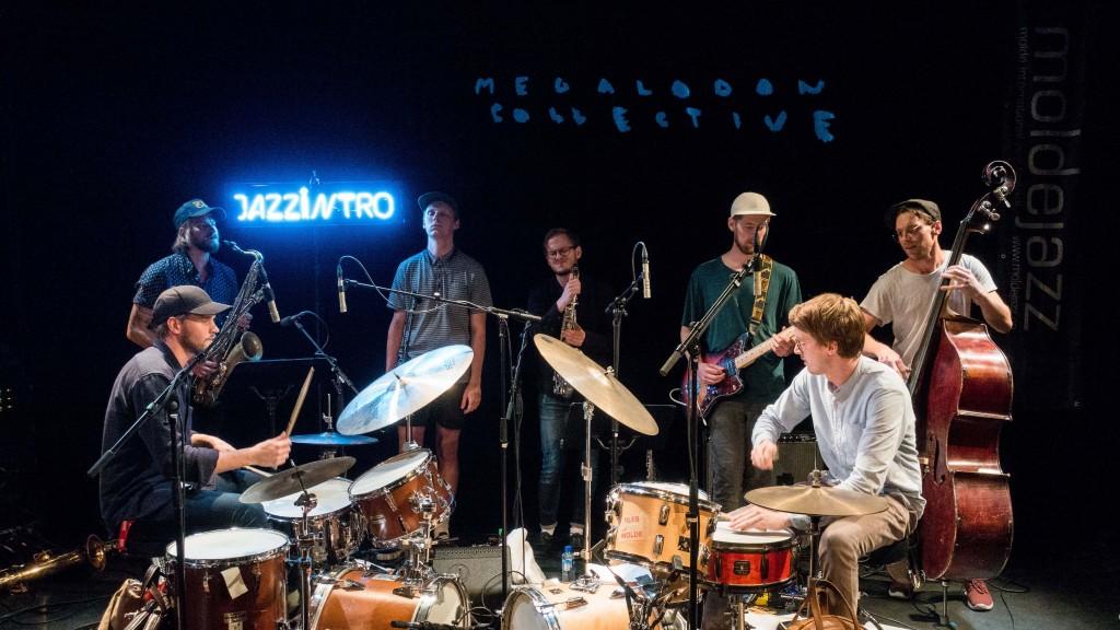 Megalodon Collective ble kåret til Årets Unge Jazzmusikere 2016 på Årets Moldejazz. Foto: Remi Aure Reksten/Moldejazz