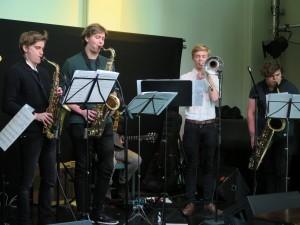 Oskar, Ask, Jørgen og Øistein spiller med East Norway Youth Jazz Ensemble i G'town, Sør-Afrika. Foto: Østnorsk jazzsenter