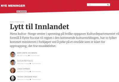 Leserinnlegg i Dagsavisen: Lytt til Innlandet